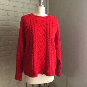 Red Raglan Sleeve Cable Knit Aerie Sweater
